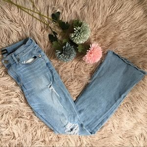 Express Mid Rise Flare distressed denim jeans
